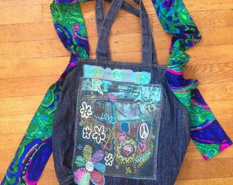 """upcycled """"peace is art"""" tshirt bag"""