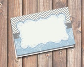 """Chevron Snowflake Blue & Gray Printable Food Tags or Placecards 3.5 x 2.25"""" Tent-Style - INSTANT DOWNLOAD"""