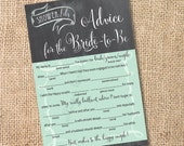 Mint and Gray Chalkboard Printable Bridal Shower Mad Libs Advice for the Bride-to-Be Aqua Chalkboard Wedding Mad Libs - INSTANT DOWNLOAD