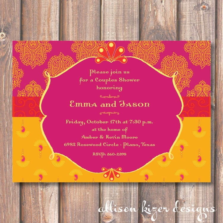 Hot Pink and Yellow Morocco Bridal Shower Printable Invitation – Moroccan Party Invitations