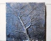 Winter Tree Sculpture, Garden Gift, Stone Wall Art, Garden Wall Plaque, Tree Branches Art, Tree Silhouette Outdoor Wall Art