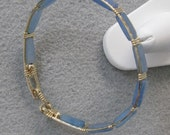 Blue Quartz and 14k Goldfilled Wire 8 inch Bangle