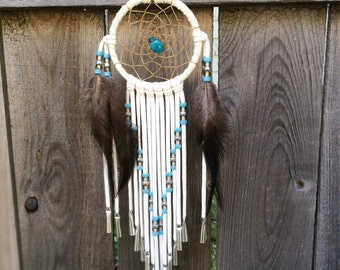 3 Inch White Deerhide Dream Catcher-Turquoise, Smoke and Silver