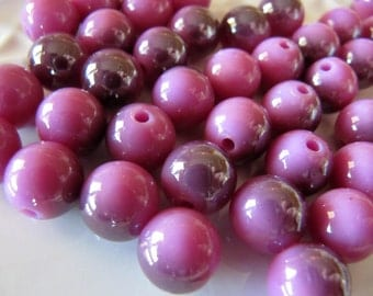 10mm Resin Beads in Dusty Purple, Half Plated, AB Finish, Round, 20 Pieces