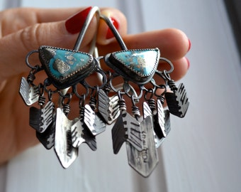 Cave Lady 12 Gauge Silver and Turquoise Dangles for Tunnels