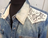 Up-cycled bleached denim shirt with vintage lace panels (Size MED/LARGE)
