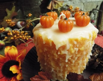Highly Scented 4x4 Grubby CAKE CANDLE w/ PUMPKINS and Drizzle - Your Choice of Fragrance
