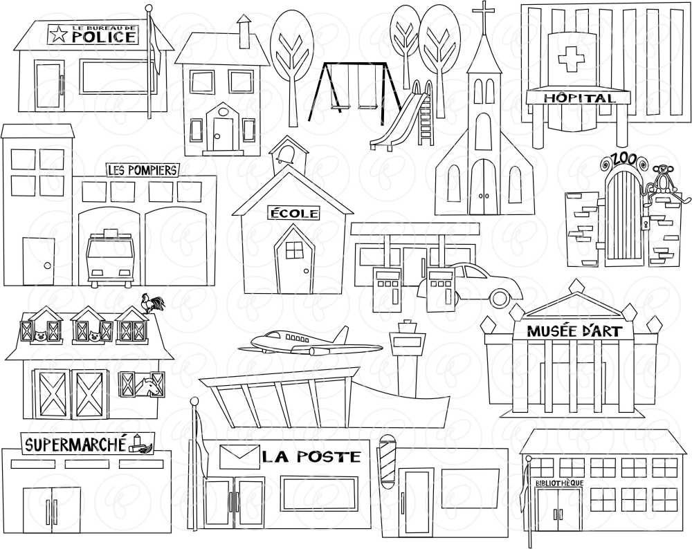 My Community Buildings In FRENCH Clipart 300 Dpi By Poppydreamz