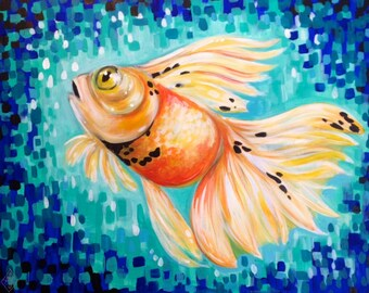 "Goldfish Painting ""Bubbles"" 16x20 inches Animal Art Original Art Decorative Art by Amanda Christine Shelton"