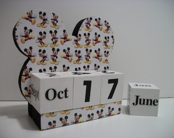 Mickey Mouse Inspired Calendar Perpetual Wood Block Mickey Mouse Inspired Theme Decor