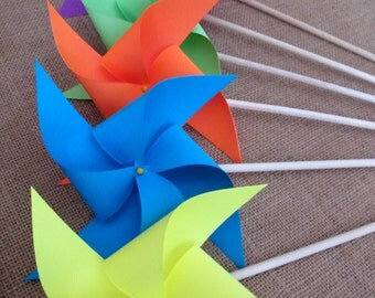 Pinwheels in Rainbow Bright Solid Colors Custom Made Paper Pinwheel Set of 12 for a birthday party baby or bridal shower Summer Party Favors
