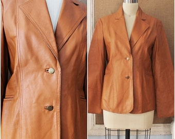 "SALE /// Sweet Caramel Vtg 80's ""LEW MAGRAM"" Pig Nappa Leather Blazer Jacket"