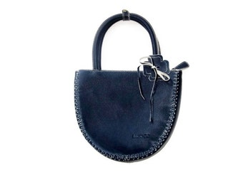Navy Leather Purse - Hand Stitched and Embellished with Leather Flower