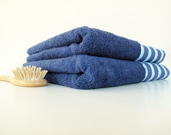 Navy Blue Towels,Organic Turkish Cotton Soft Naturel Set of 2 Organic,Ecofriendly Turkish Hand,Face,Kitchen Towels