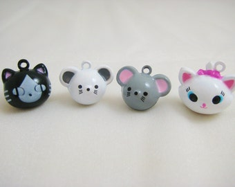 Cat and Mouse Collection - 4 Pieces - 1 Black Cat, 1 White Mouse, 1 Grey Mouse, 1 White Cat Animal Jingle Bell Charms