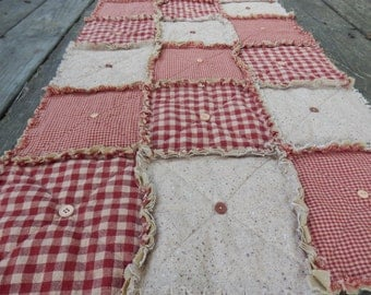 "Red Homespun Table Runner 74"", Country Primitive Rag Quilt Style with Buttons, Farmhouse Decor, Handmade in NJ"