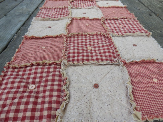 Homespun Table Runner in Red, Country Primitive Rag Quilt Style with Buttons, Farmhouse Decor, Handmade in NJ
