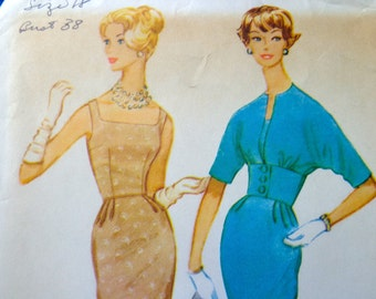60s Sheath Dress Pattern McCalls 5315 Bust 38 Dress w Fitted Waistband Jacket Pattern UNCUT