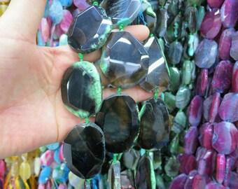 Green Black agate Large slab Beads 35x45mm - 7pcs/str