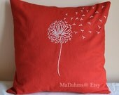 Red Orange Dandelion Pillow Cover