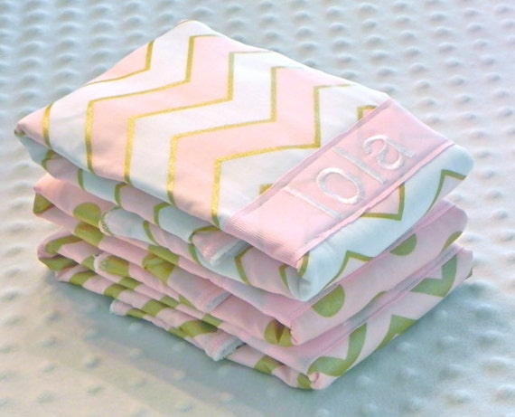 Beautiful personalized baby burp cloths