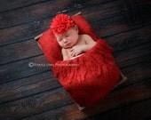 Red baby headband, infant headband, newborn headband, red flower headband, photo prop, red chiffon flower on red headband, Valentine's headb