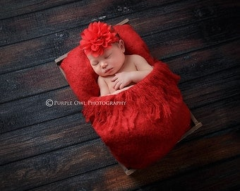 Red baby headband, infant headband, newborn headband, red flower headband, photo prop, red chiffon flower on red headband, Valentine's headb