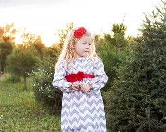 Girls Dress, Gray and Red, Chevron