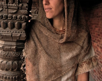 DISCOUNTED !! Shawl Scarf Wrap Light made ofLInen in Natuiral linen color Transparent Vintage Romantic
