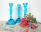 Vintage Turquoise Glass Candle Stick Holder