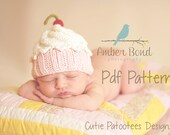 Cute as a Cupcake Hat PDF Knitting Pattern for Newborn, baby, and child cupcake hat/photo prop
