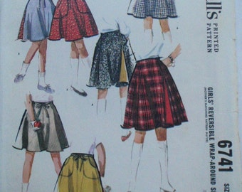 Vintage 60's Girl's Sewing Pattern - Reversible Wrap Skirt - McCall's 6741 - Size 8, Waist 23