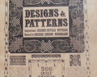 Needlecraft and Quilting Designs and Patterns - Booklet of Inspirational Designs, Initials, Patterns, Decorative Borders, Monograms