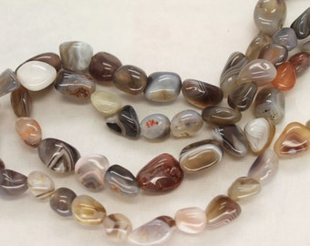 Natural Botswana Agate Freeform Smooth Nugget Beads - 16 Inch Strand