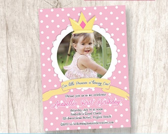 Princess First Birthday Party Photo Invitation, Girl Party Invite, 1st Birthday, Crown, Royal Party - DiY Printable || Our Little Princess