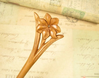 Hand Carved Peach Wood Hair Stick - Flower