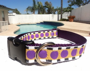 """Sale Dog Collar 1"""" wide in Quick Release buckle or Martingale collar style adjustable Modern Art"""
