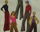 Flared Pants Pattern, Yoked Front, Mock Fly, Side Pockets, Cuffs, Vogue No. 8131 UNCUT Size 12 14 16