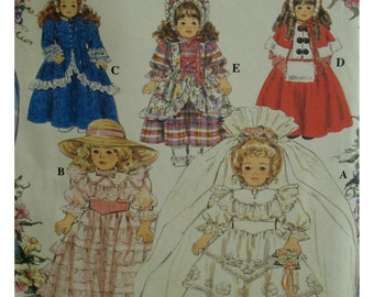 "Victorian Doll Costumes Pattern, Wedding Dress, Caped Coat, Bonnets, Dresses, Pantaloons, Simplicity No. 8766 UNCUT Size Fits 16"" 18"" Dolls"