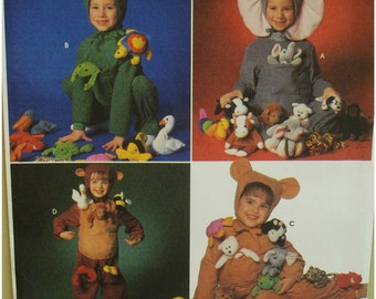 Childs Elephant Costume Pattern, Frog, Bear, Beaver, Jumpsuit, Hood, Simplicity No. 7779 UNCUT Size 3 4 5 6 7 8