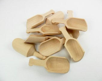 """10 Wood Scoops 3"""" Unfinished Wood Scoop"""