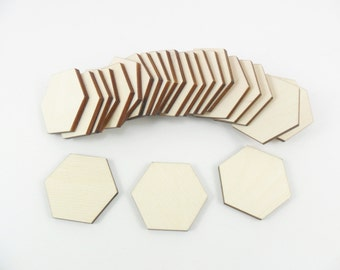 "25 Wood Hexagon 1 1/2"" x 1 3/4"" x 1/8"" Unfinished Laser Cut Wood Tiles"