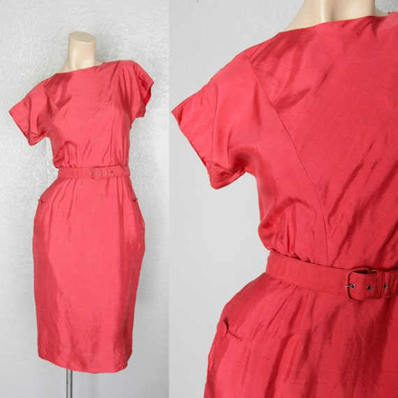 1950's Silk Red Vintage Wiggle Dress Sz M
