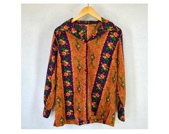 Bright Stripe Shirt, Rose Print Tunic, Vintage 1970s, Size Large