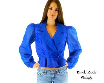Shirt Jacket Blue Semi Sheer, Vintage 1980s, Womems Medium Small