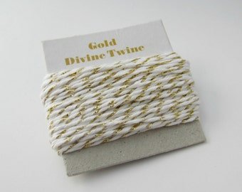 Gold Metallic Divine Twine- 10 yards, gold and white twine, gold cotton string, metallic bakers twine, gold metallic twine, metallic string