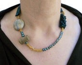 Fabric necklace  blue and gold with beads one of a kind - Oldfashion collection