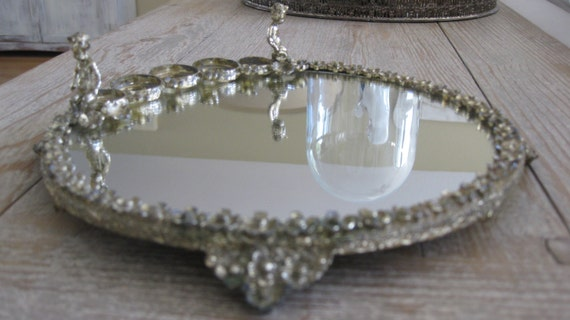 Vintage mirrored tray, plateau, cherubs, gold toned