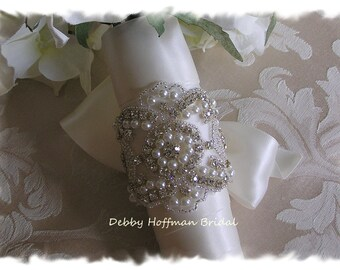 Bouquet Wrap, Bridal Bouquet Wrap, Pearl Rhinestone Crystal Wedding Bouquet Cuff, Jeweled Pearl Wedding Bouquet Wrap, Cuff,  No. 3080BW