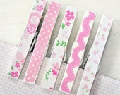 Clothespin magnet set of 5 pink and green